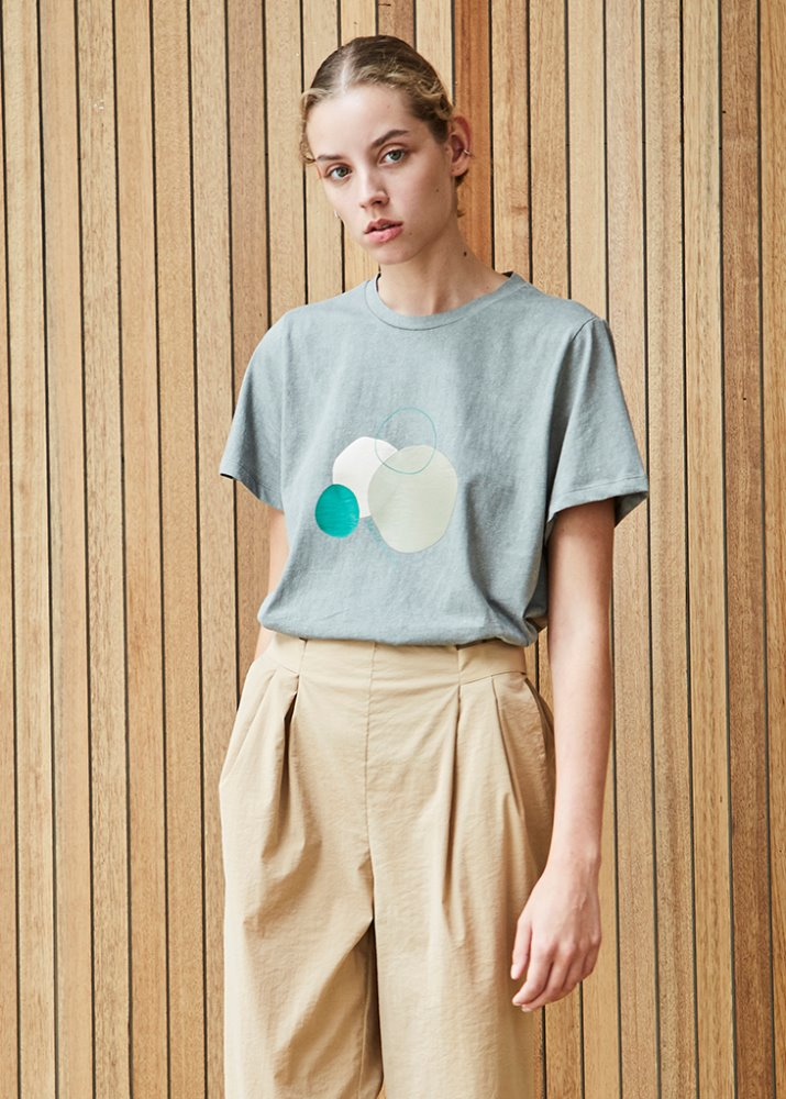 COTTON T-SHIRT W/ CIRCLE GRAPHIC_GREEN