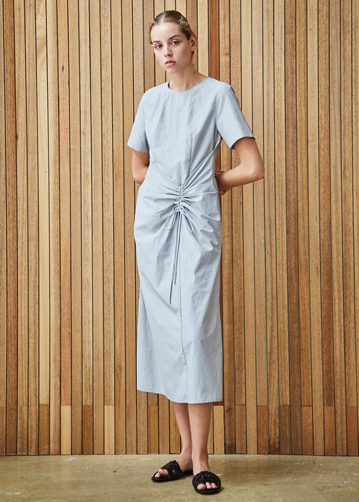 DRESS W/ SHIRRING DETAIL_GREY