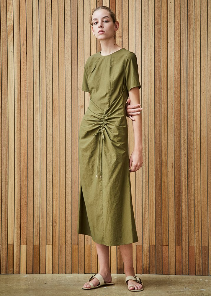 DRESS W/ SHIRRING DETAIL_KHAKI
