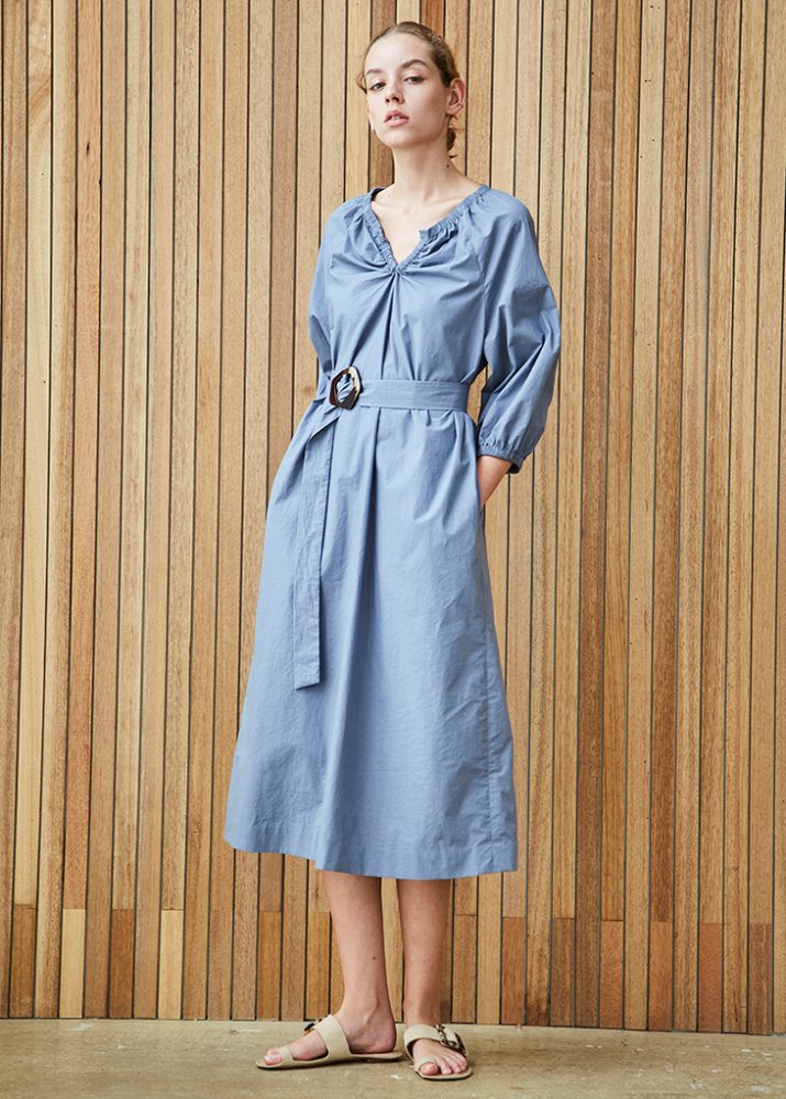 VOLUME SLEEVE FEM DRESS_SKY BLUE