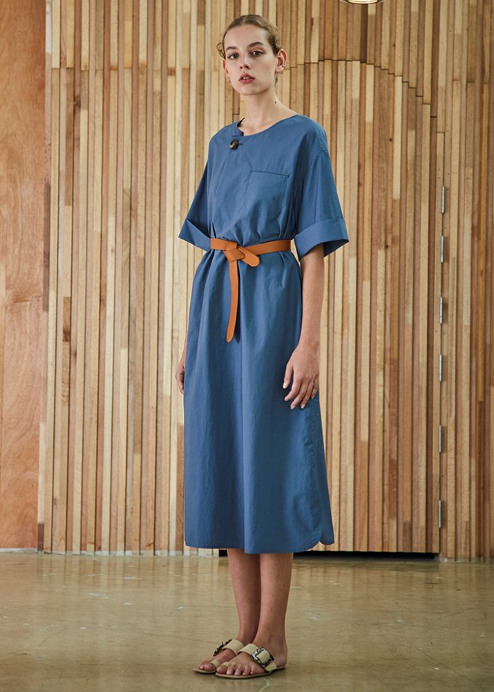 BELTED 1/2 SLEEVE DRESS_BLUE