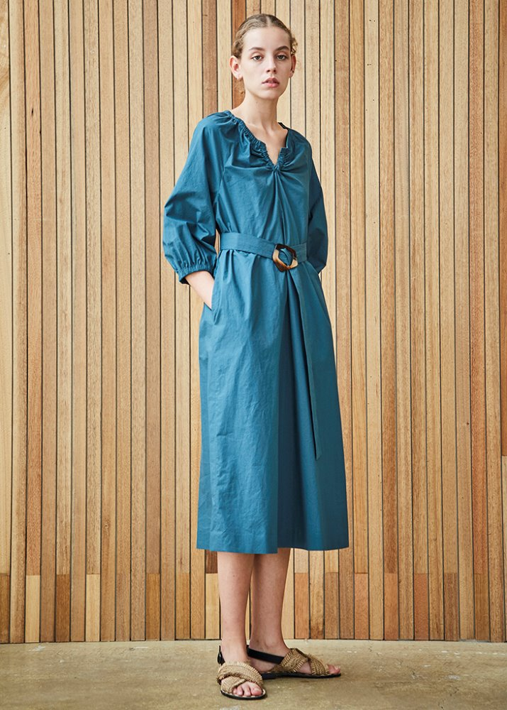 VOLUME SLEEVE FEM DRESS_GREEN