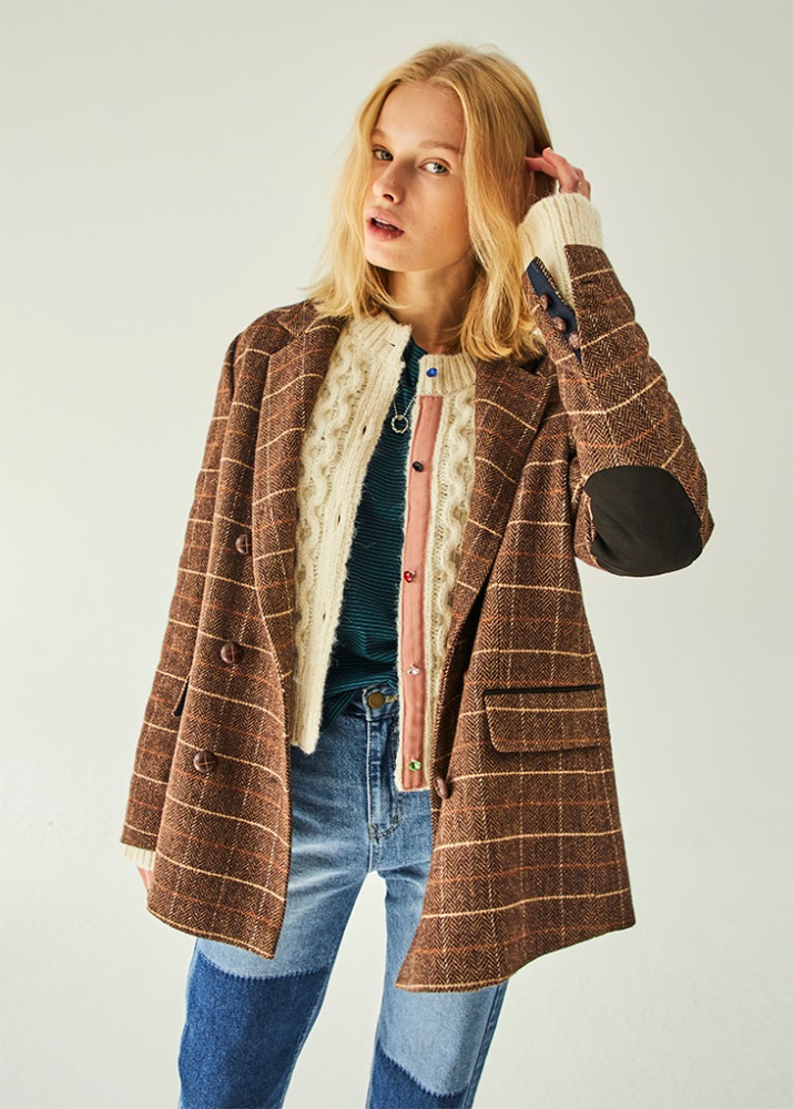 BACK BUTTON CHECK JACKET