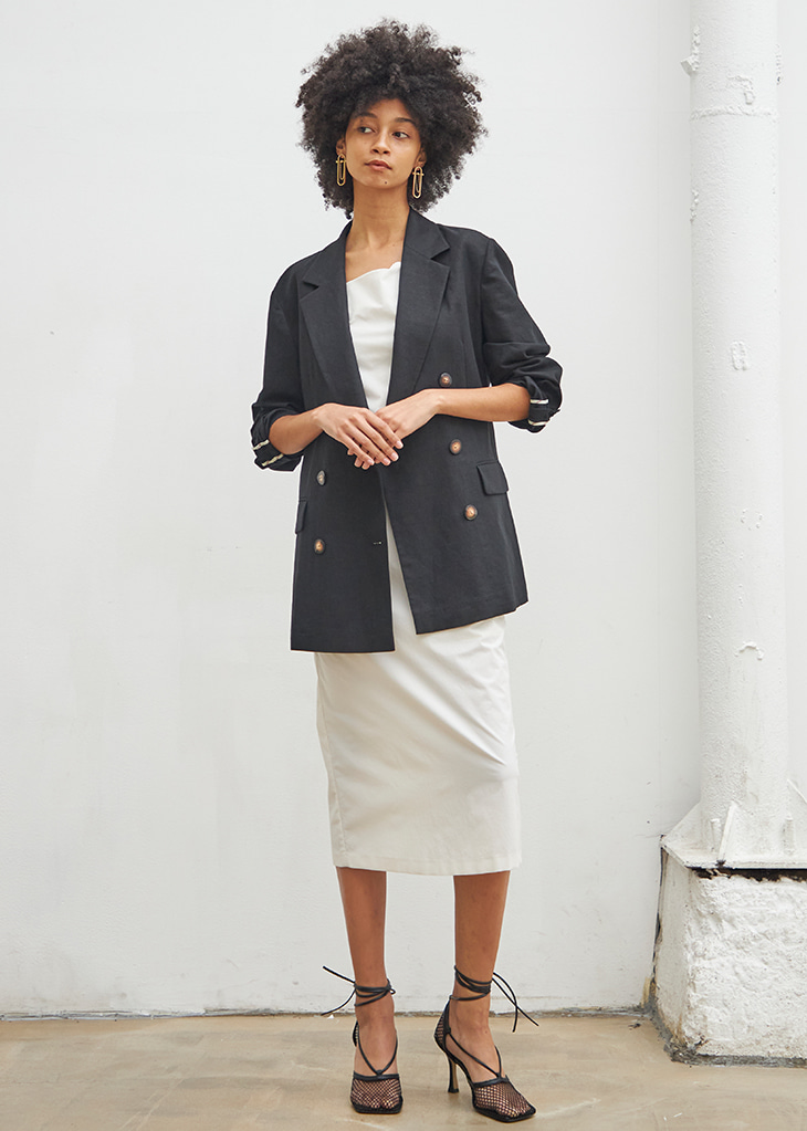 BACK BUTTON LINEN JACKET_BLACK