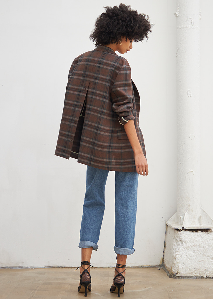 BACK BUTTON CHECK LINEN JACKET_BROWN CHECK