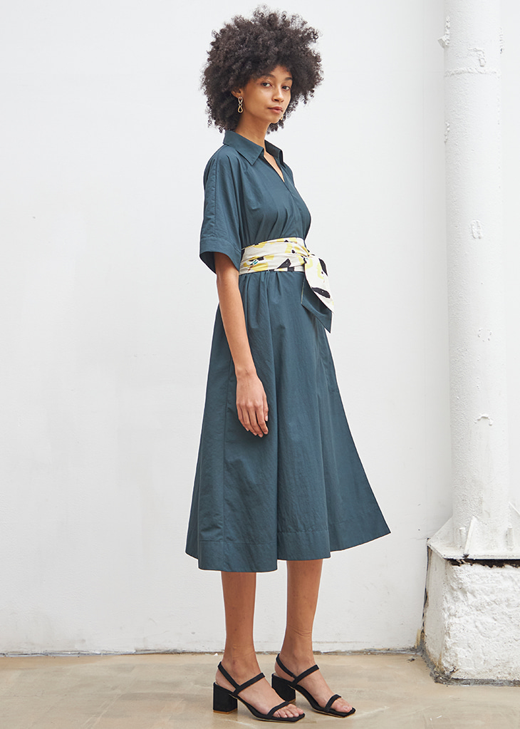 [4월20일 예약배송]FLORAL BELTED SHIRT DRESS_GREEN