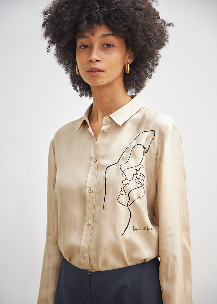DRAWING SILKY SHIRT_BEIGE